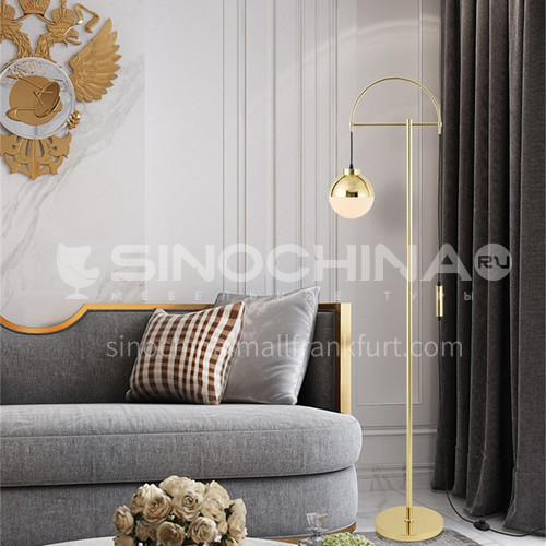 Designer modern minimalist wrought iron glass cover restaurant light luxury atmosphere bedroom floor lamp YDH-6020
